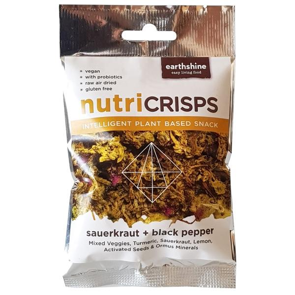 Nutricrisps sauerkraut black pepper PACKSHOT white