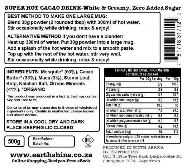 Super Hot Cacao Drink White Creamy Zero Jar BACK IMAGE